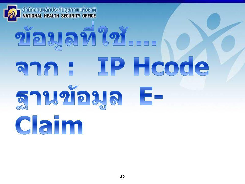 ข้อมูลที่ใช้.... จาก : IP Hcode ฐานข้อมูล E-Claim