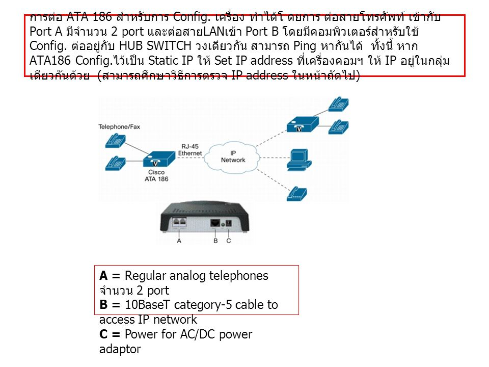 การต่อ ATA 186 สำหรับการ Config