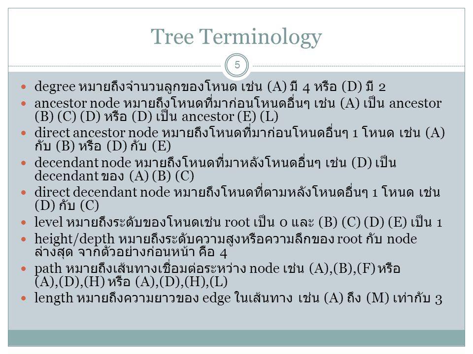 Tree Terminology degree หมายถึงจำนวนลูกของโหนด เช่น (A) มี 4 หรือ (D) มี 2.