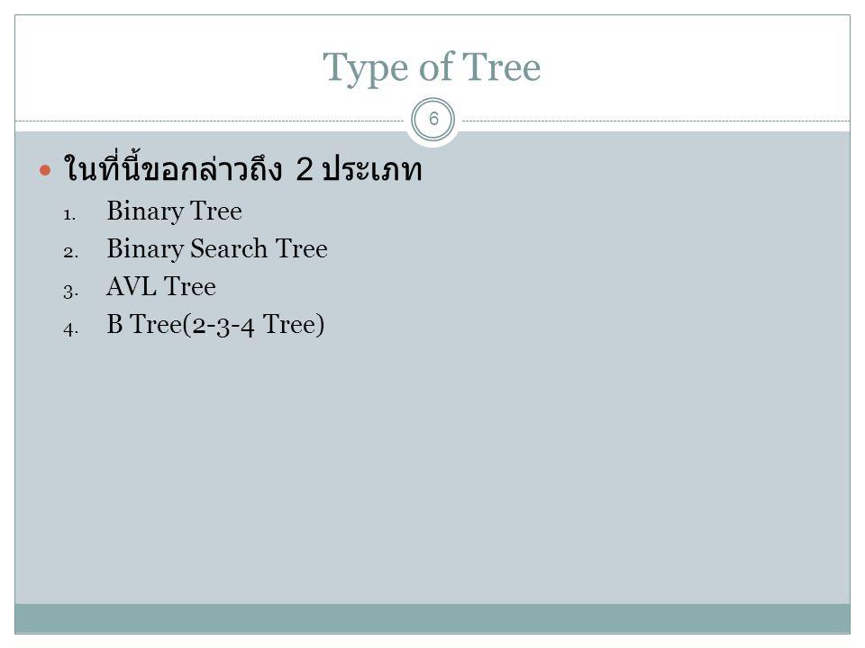 Type of Tree ในที่นี้ขอกล่าวถึง 2 ประเภท Binary Tree