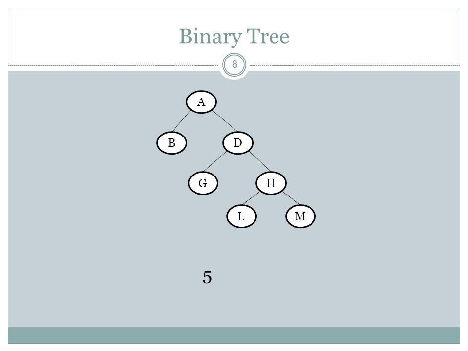 Binary Tree A B D G H L M 5