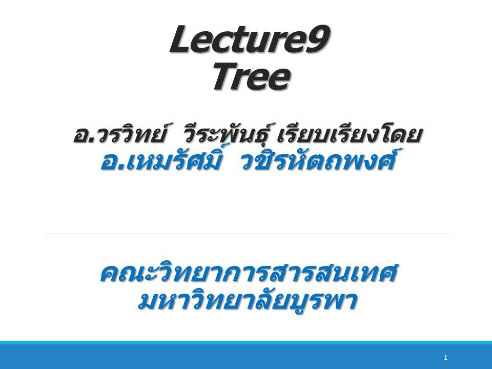 Lecture9 Tree อ. วรวิทย์ วีระพันธุ์ เรียบเรียงโดย อ