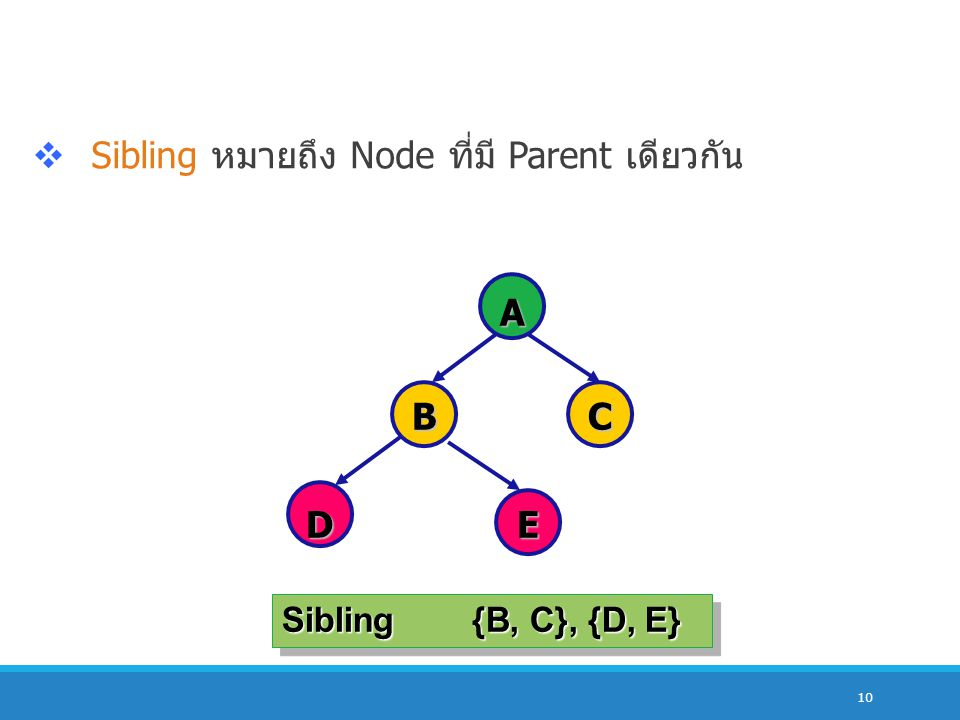 Sibling หมายถึง Node ที่มี Parent เดียวกัน