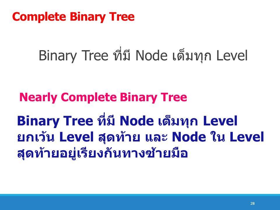 Binary Tree ที่มี Node เต็มทุก Level