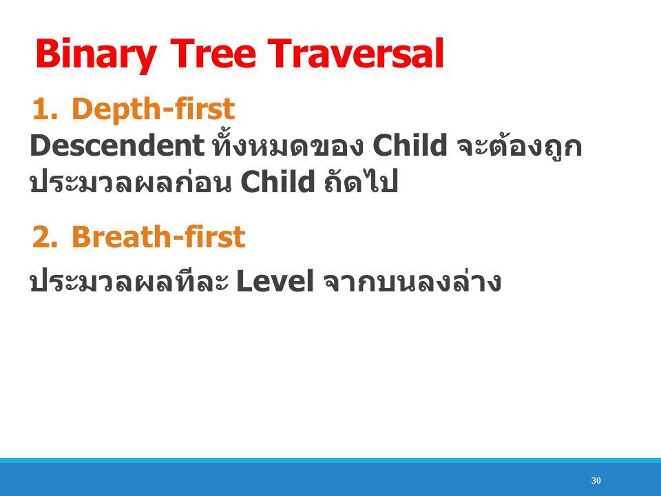 Binary Tree Traversal 1. Depth-first Descendent ทั้งหมดของ Child จะต้องถูก ประมวลผลก่อน Child ถัดไป.