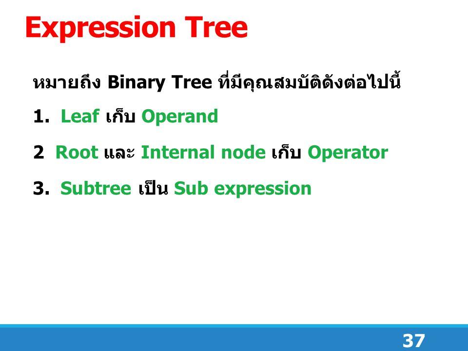 Expression Tree หมายถึง Binary Tree ที่มีคุณสมบัติดังต่อไปนี้
