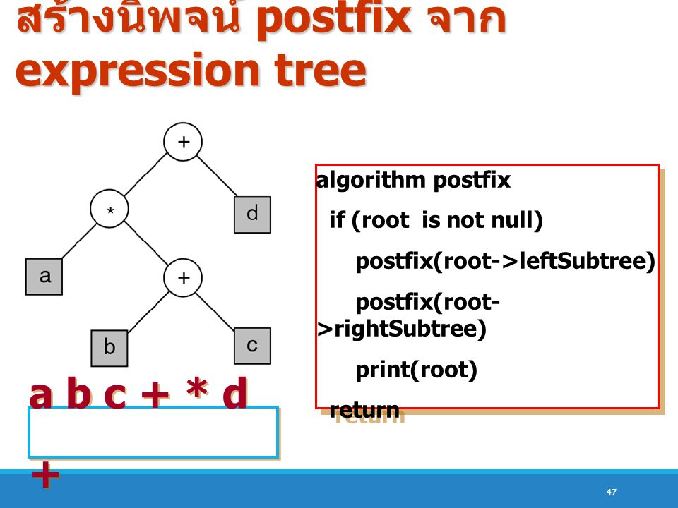 สร้างนิพจน์ postfix จาก expression tree
