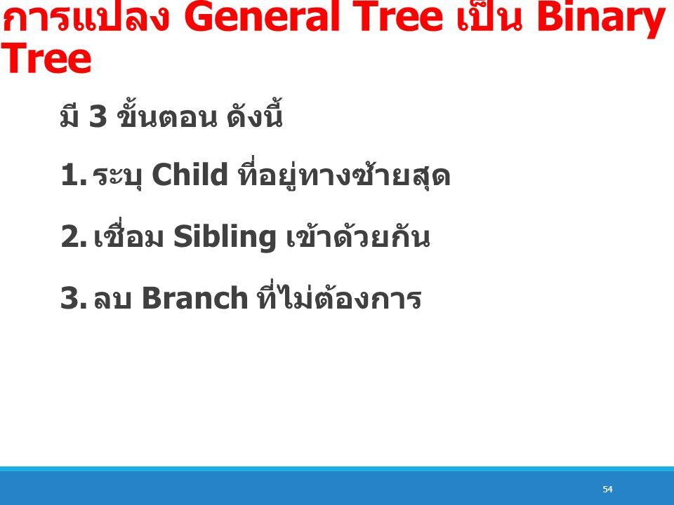 การแปลง General Tree เป็น Binary Tree