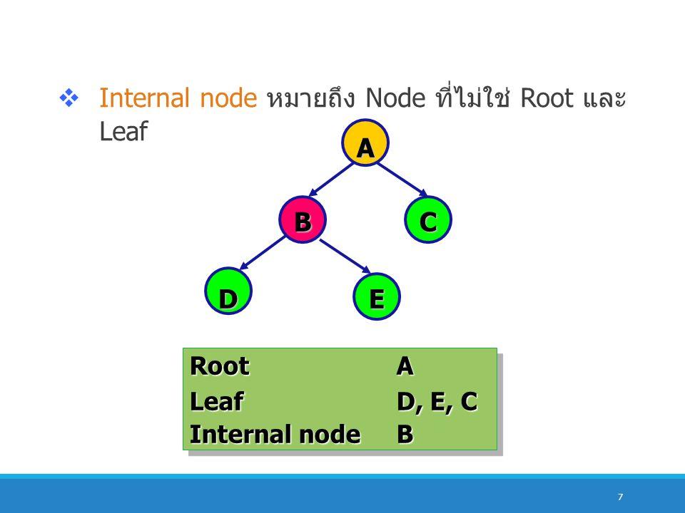Internal node หมายถึง Node ที่ไม่ใช่ Root และ Leaf