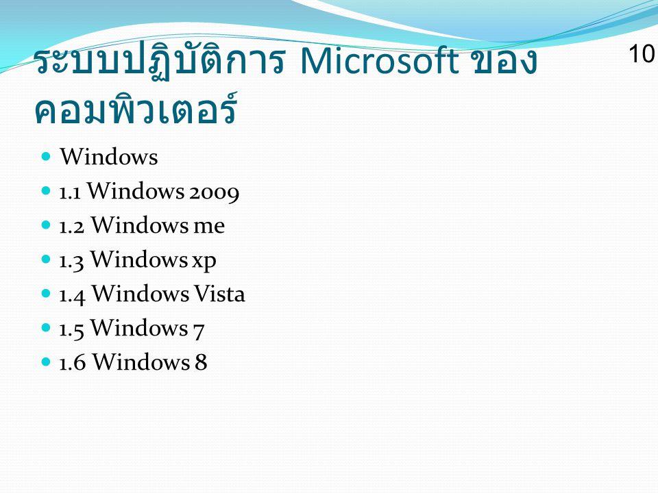 ระบบปฏิบัติการ Microsoft ของคอมพิวเตอร์
