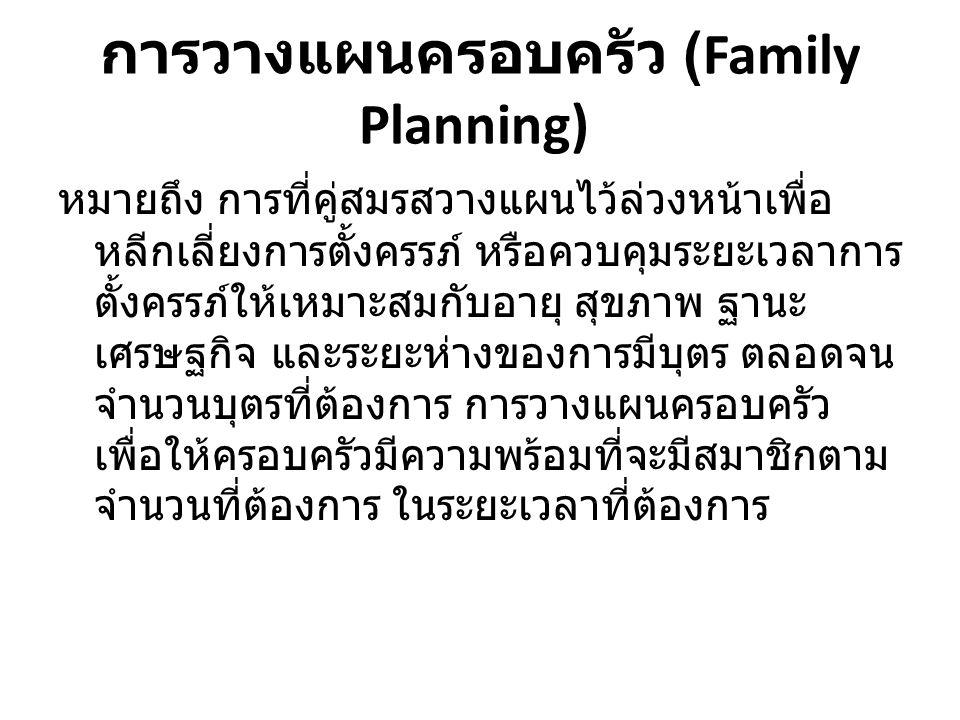 การวางแผนครอบครัว (Family Planning)