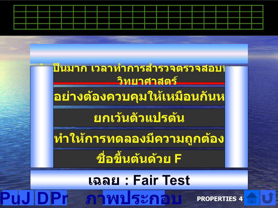 Pu J D Pr ภาพประกอบ เฉลย : Fair Test เฉลย คำใบ้ที่ 1