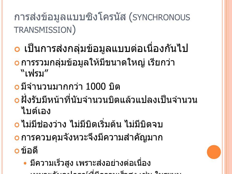 การส่งข้อมูลแบบซิงโครนัส (synchronous transmission)