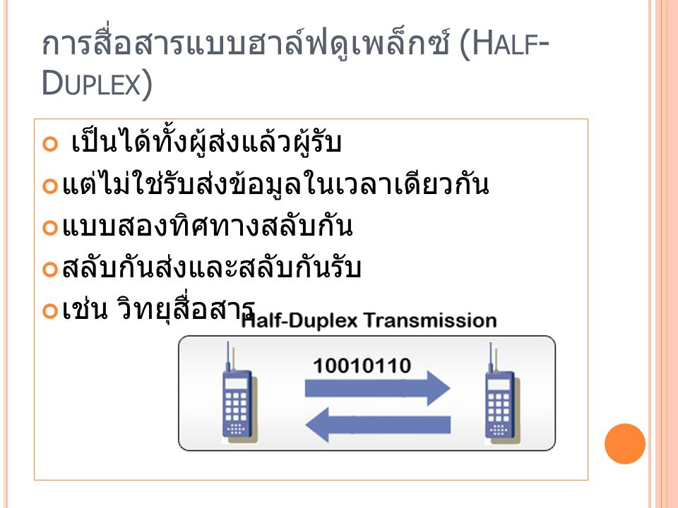 การสื่อสารแบบฮาล์ฟดูเพล็กซ์ (Half-Duplex)