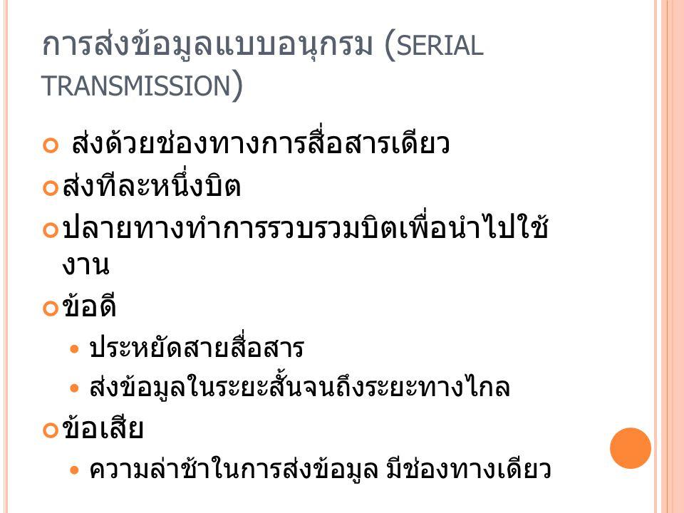 การส่งข้อมูลแบบอนุกรม (serial transmission)