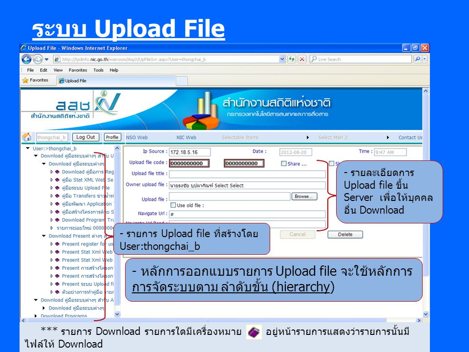 ระบบ Upload File - รายละเอียดการ Upload file ขึ้น Server เพื่อให้บุคคล อื่น Download. - รายการ Upload file ที่สร้างโดย User:thongchai_b.