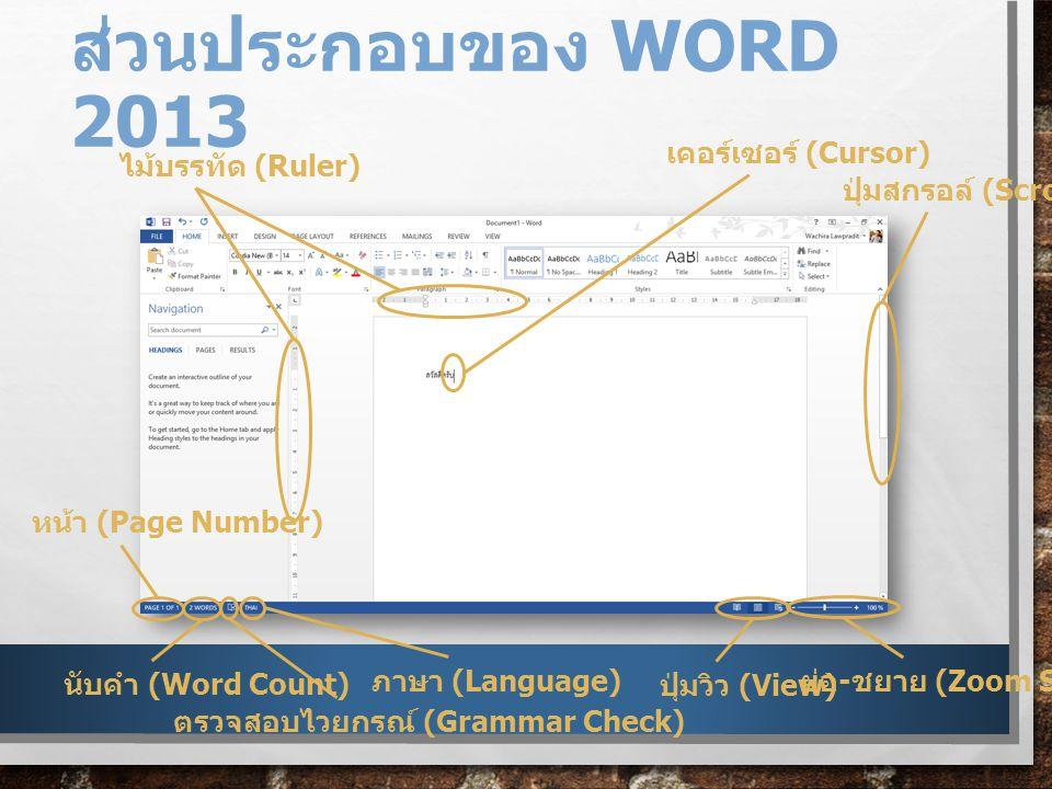 ส่วนประกอบของ Word 2013 เคอร์เซอร์ (Cursor) ไม้บรรทัด (Ruler)