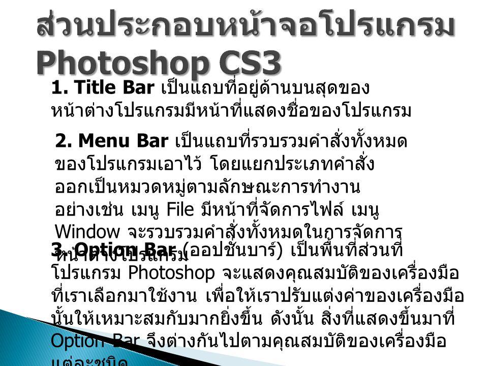 ส่วนประกอบหน้าจอโปรแกรม Photoshop CS3