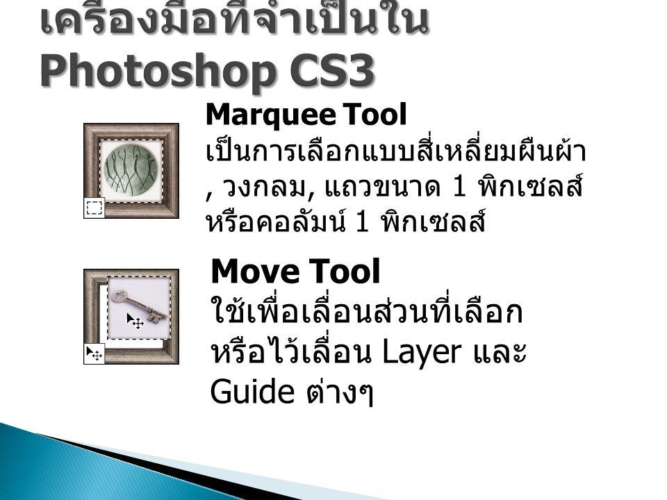 เครื่องมือที่จำเป็นใน Photoshop CS3