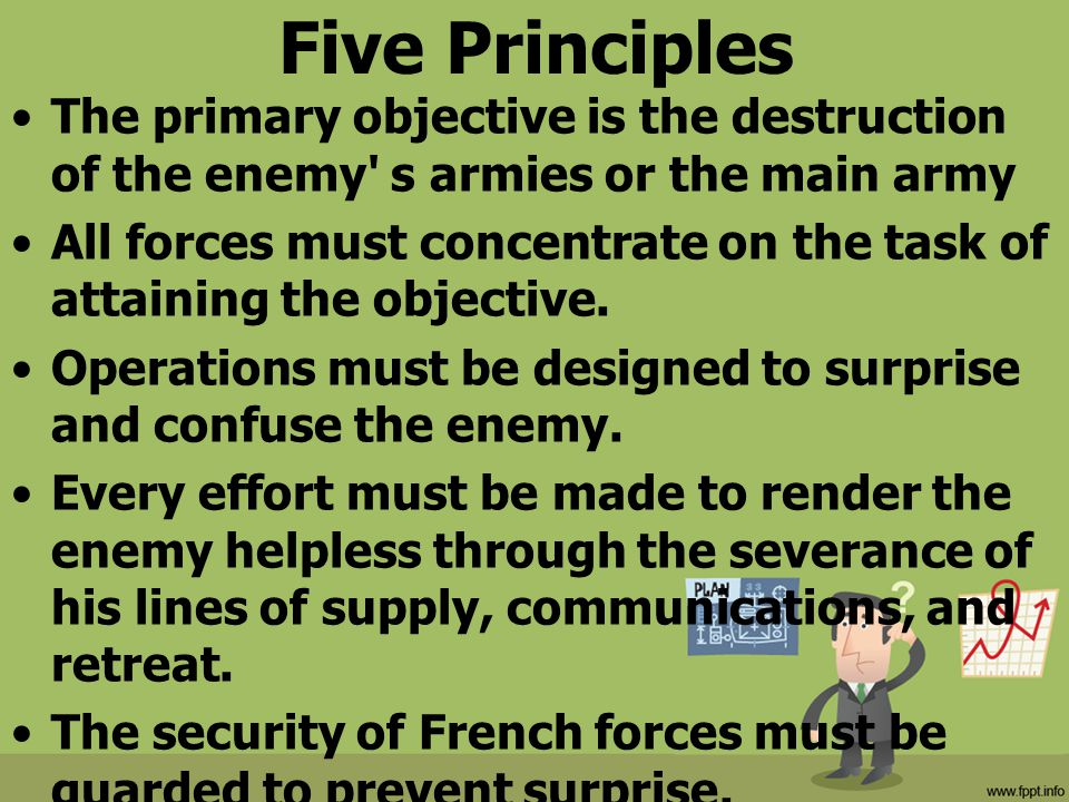 Five Principles The primary objective is the destruction of the enemy s armies or the main army.