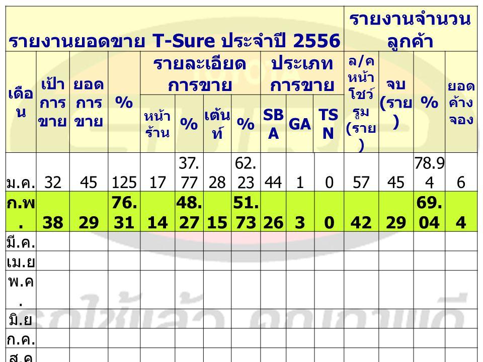 รายงานยอดขาย T-Sure ประจำปี 2556