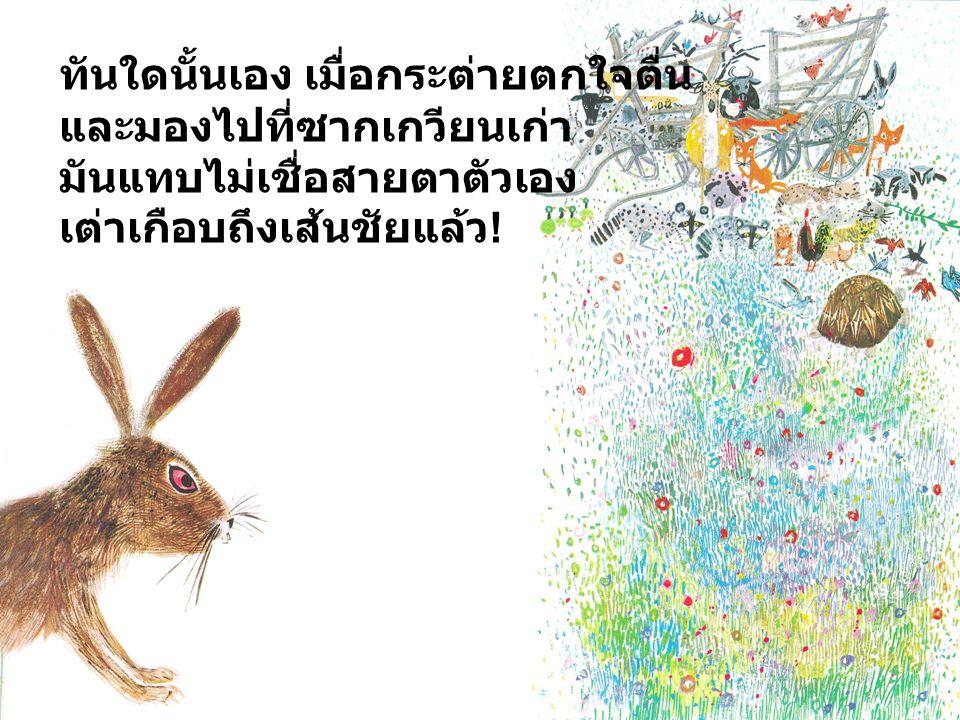 ทันใดนั้นเอง เมื่อกระต่ายตกใจตื่น
