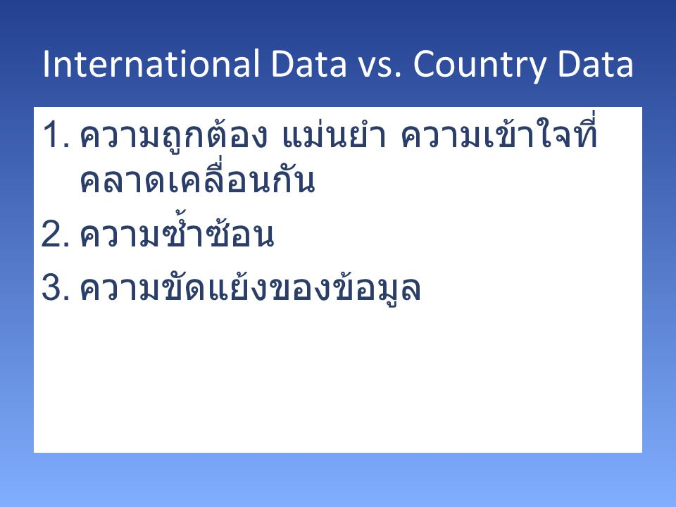 International Data vs. Country Data