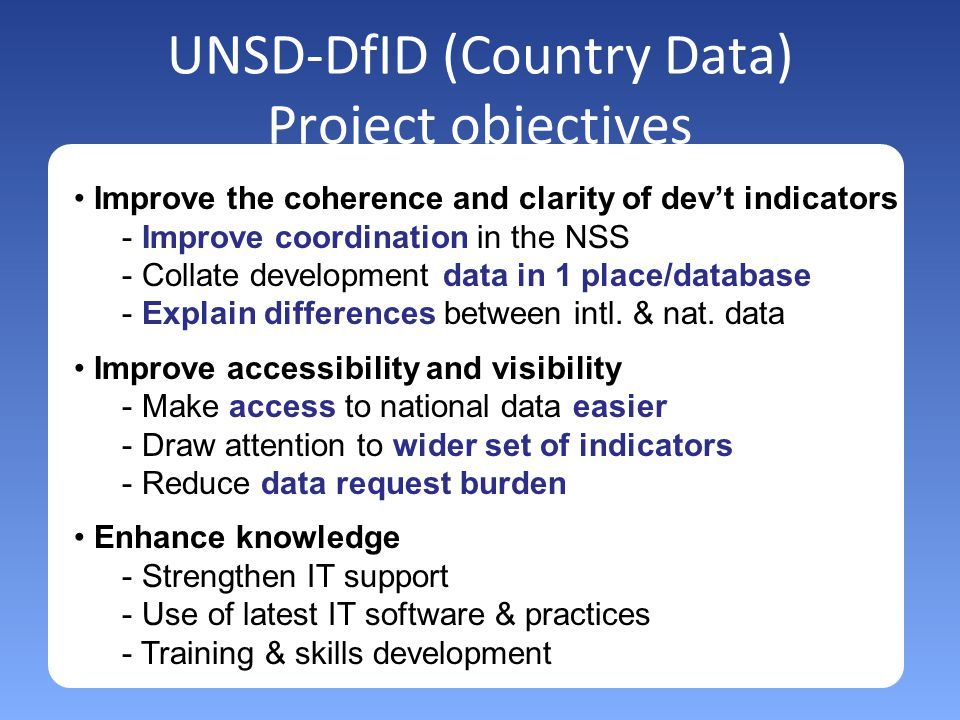 UNSD-DfID (Country Data) Project objectives