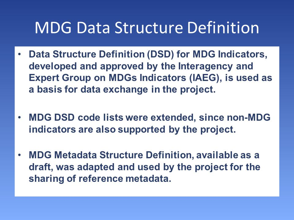 MDG Data Structure Definition