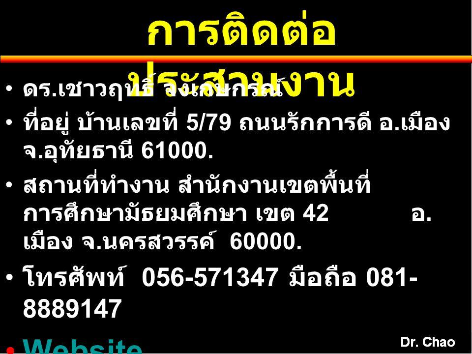 การติดต่อประสานงาน Website. www.kmchaowarit.com