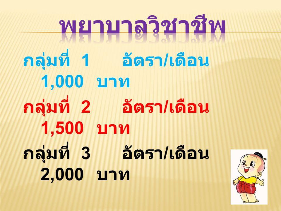 พยาบาลวิชาชีพ กลุ่มที่ 2 อัตรา/เดือน 1,500 บาท
