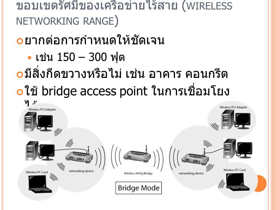 ขอบเขตรัศมีของเครือข่ายไร้สาย (wireless networking range)