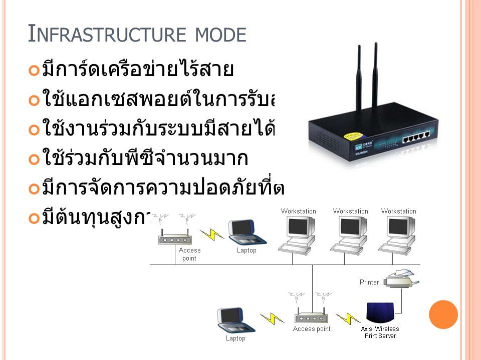 Infrastructure mode มีการ์ดเครือข่ายไร้สาย
