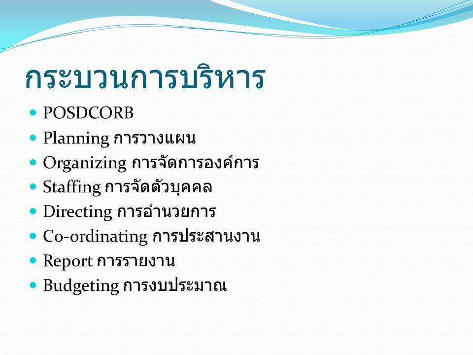กระบวนการบริหาร POSDCORB Planning การวางแผน
