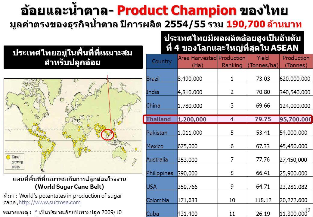 อ้อยและน้ำตาล- Product Champion ของไทย