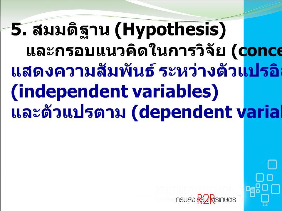 5. สมมติฐาน (Hypothesis) และกรอบแนวคิดในการวิจัย (conceptual framework) แสดงความสัมพันธ์ ระหว่างตัวแปรอิสระหรือตัวแปรต้น (independent variables) และตัวแปรตาม (dependent variable)