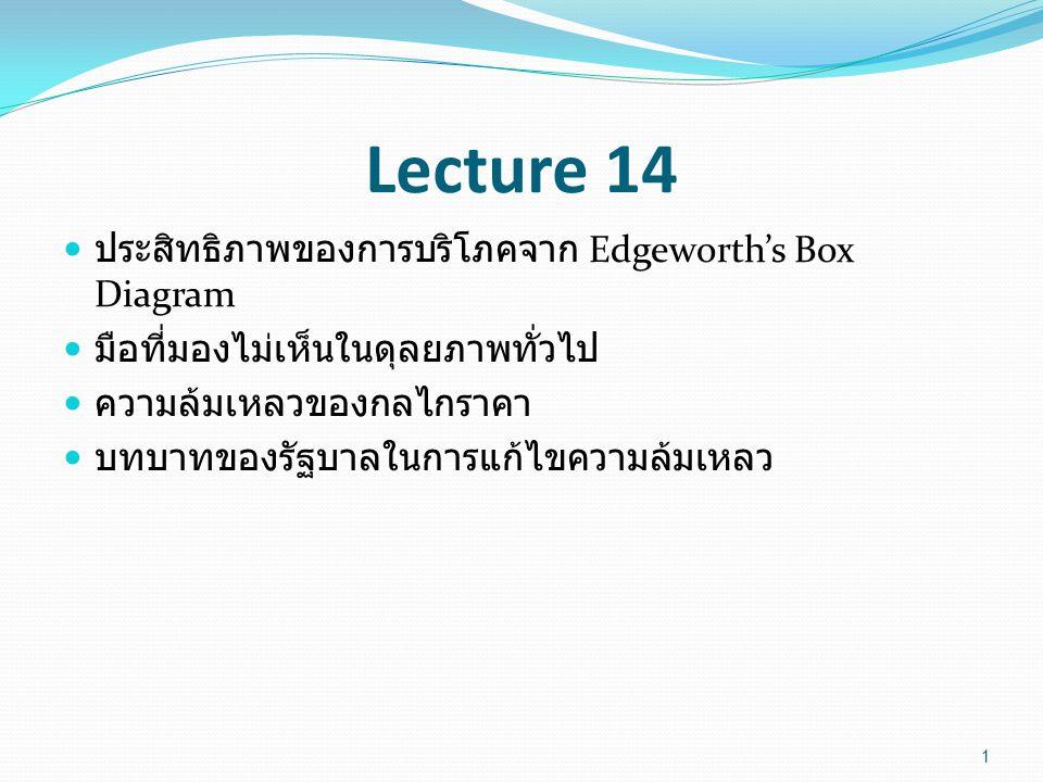 Lecture 14 ประสิทธิภาพของการบริโภคจาก Edgeworth's Box Diagram