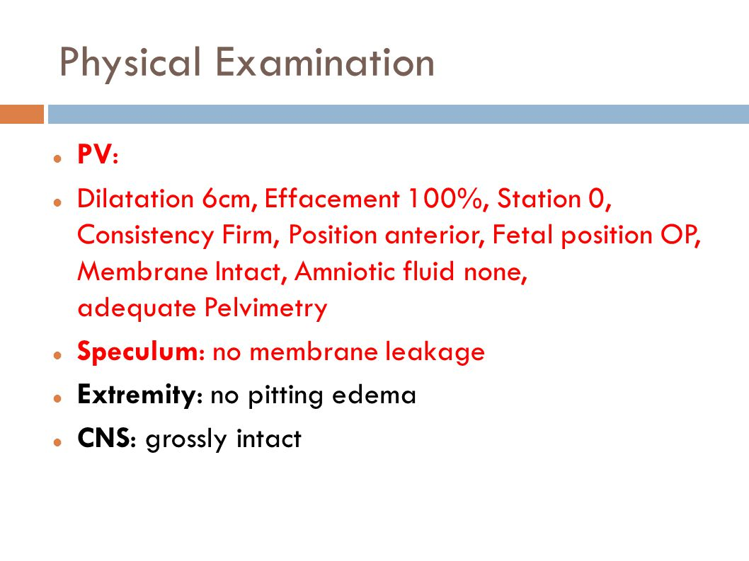 Physical Examination PV: