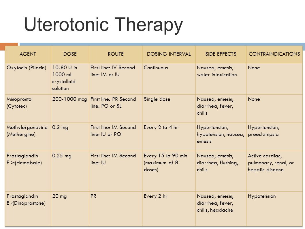 Uterotonic Therapy AGENT DOSE ROUTE DOSING INTERVAL SIDE EFFECTS
