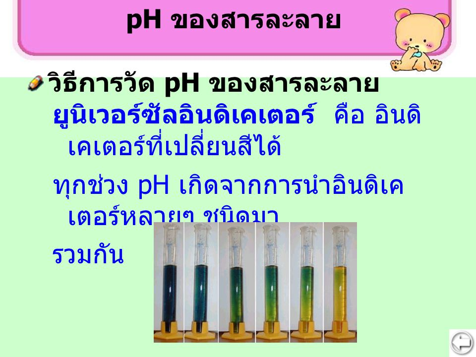pH ของสารละลาย วิธีการวัด pH ของสารละลาย. ยูนิเวอร์ซัลอินดิเคเตอร์ คือ อินดิเคเตอร์ที่เปลี่ยนสีได้