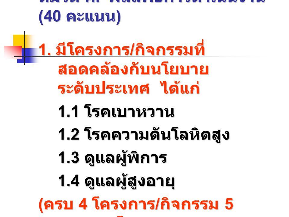 หมวด ค. ผลลัพธ์การดำเนินงาน (40 คะแนน)