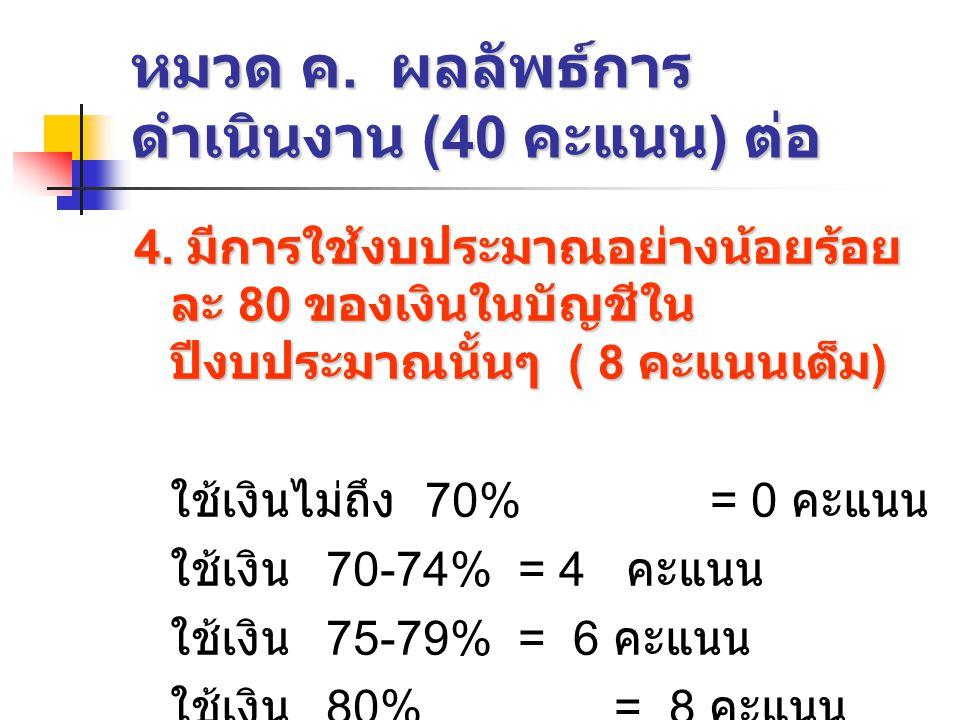 หมวด ค. ผลลัพธ์การดำเนินงาน (40 คะแนน) ต่อ