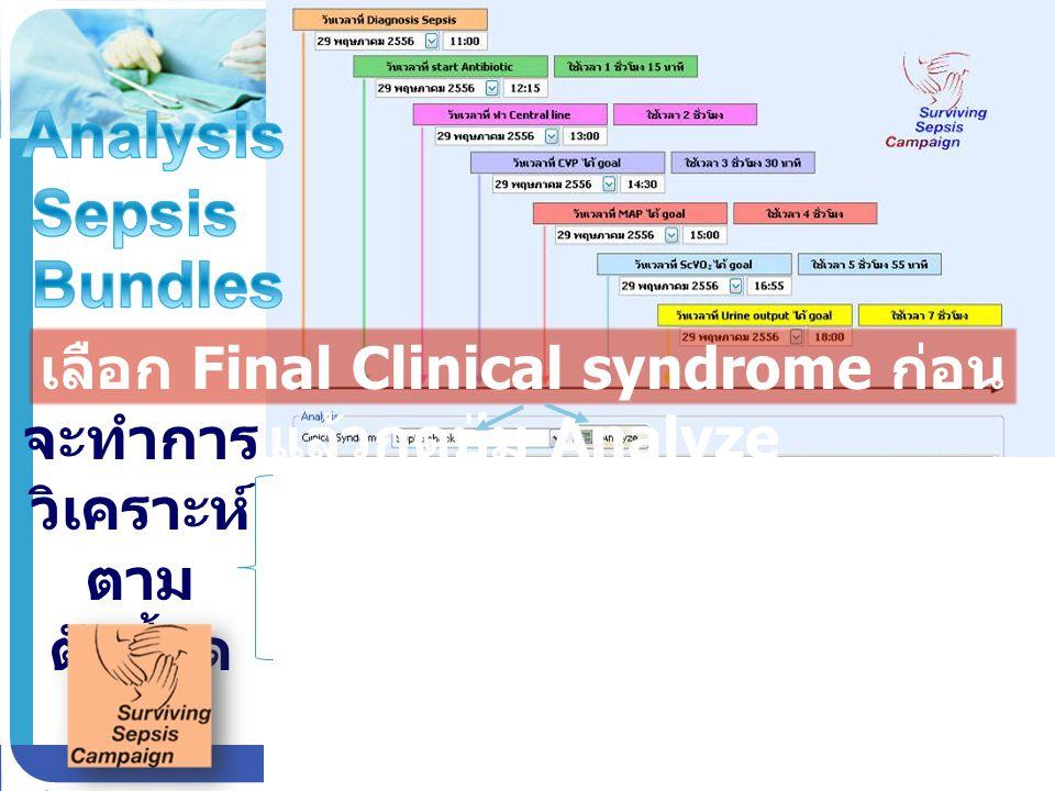 เลือก Final Clinical syndrome ก่อน แล้วกดปุ่ม Analyze