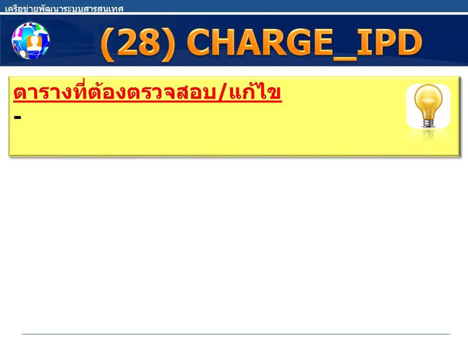 (28) CHARGE_IPD ตารางที่ต้องตรวจสอบ/แก้ไข -