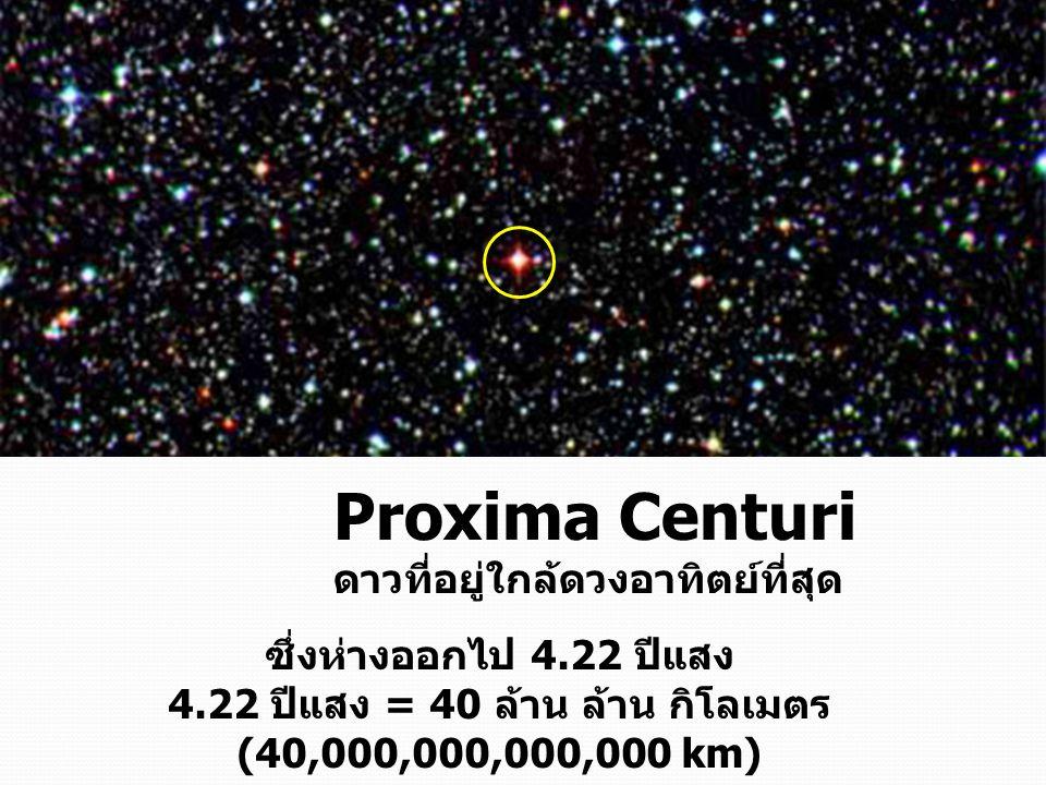 4.22 ปีแสง = 40 ล้าน ล้าน กิโลเมตร (40,000,000,000,000 km)