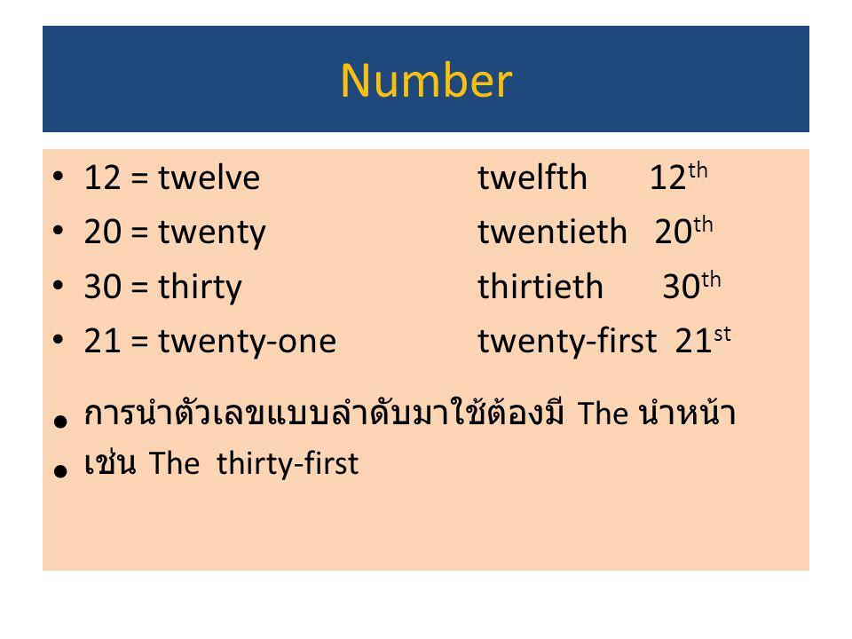 การนำตัวเลขแบบลำดับมาใช้ต้องมี The นำหน้า เช่น The thirty-first