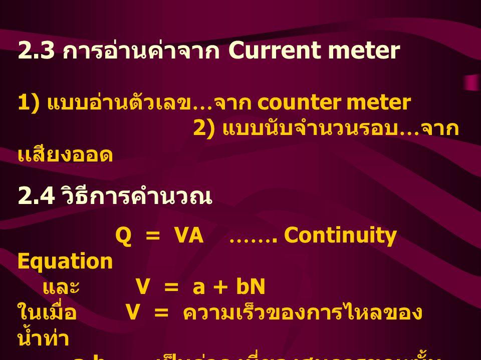 2. 3 การอ่านค่าจาก Current meter. 1) แบบอ่านตัวเลข…จาก counter meter