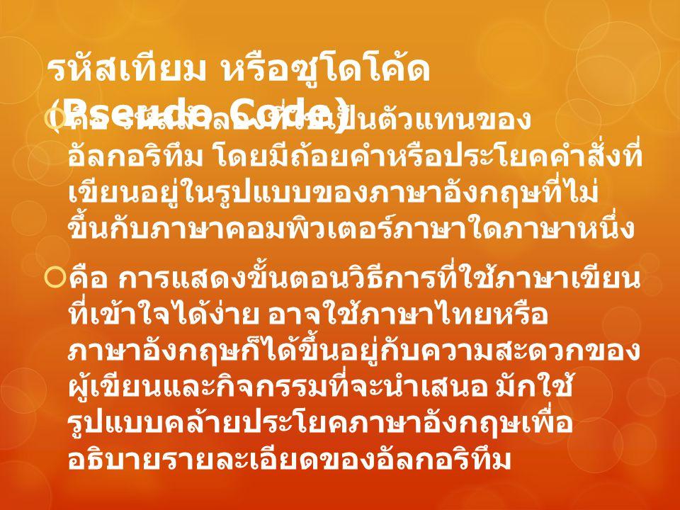 รหัสเทียม หรือซูโดโค้ด (Pseudo Code)