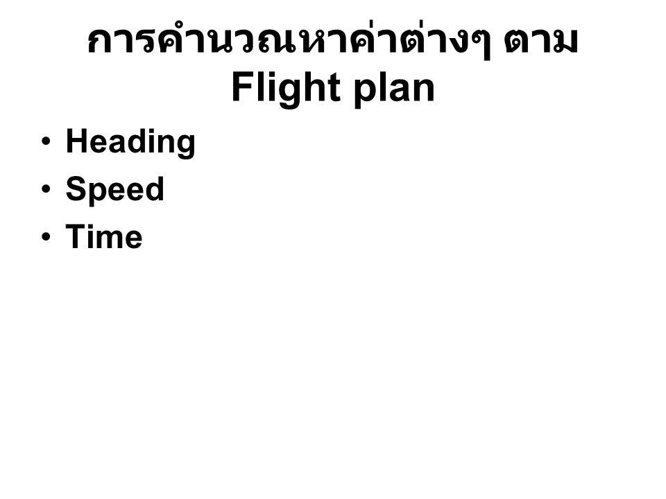 การคำนวณหาค่าต่างๆ ตาม Flight plan