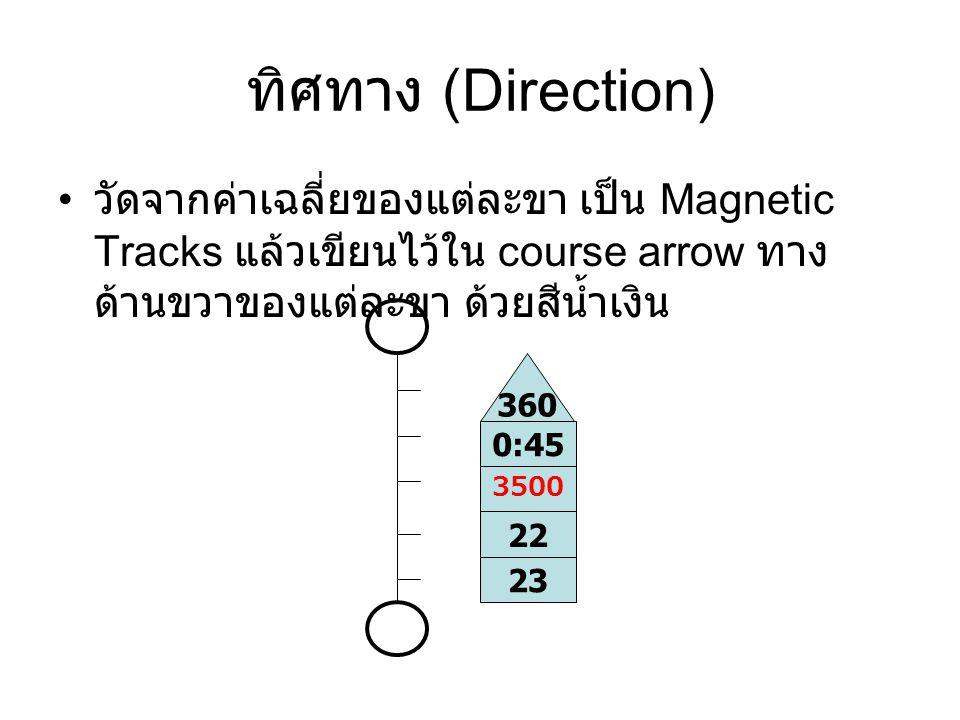 ทิศทาง (Direction) วัดจากค่าเฉลี่ยของแต่ละขา เป็น Magnetic Tracks แล้วเขียนไว้ใน course arrow ทางด้านขวาของแต่ละขา ด้วยสีน้ำเงิน.
